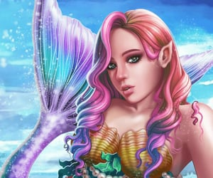 fantasy, mermaid, and pearl necklace image