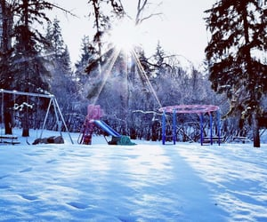 landscape, playground, and snow image