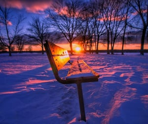 bench, landscape, and snow image