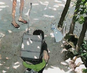 cat, illustration, and sun image