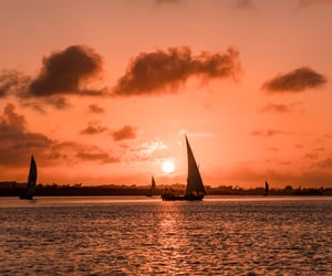 africa, sunset, and boat image