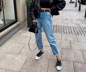 black, jeans, and outfit image