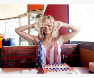 american flag, girl, and booth image