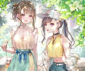 anime girl, baseball cap, and dress image