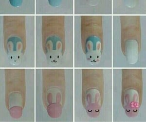 blue, bunnies, and design image