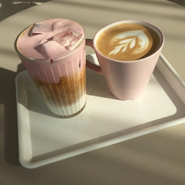 coffee, drink, and pink image