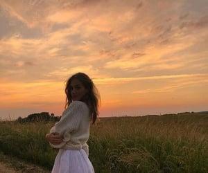 girl, sunset, and fashion image