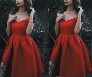 satin dress, short prom dress, and red prom dresses image