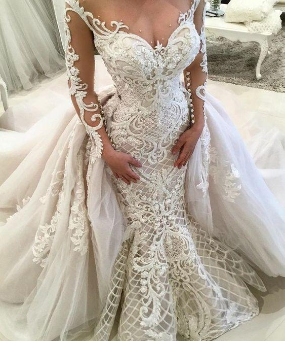 luxury wedding dresses with detachable skirt long sleeve Lace Applique beaded chapel train 2021 wedding gown