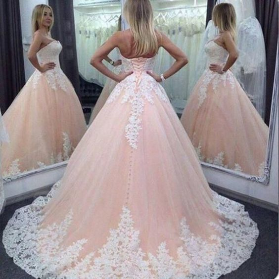 pink pageant dresses for women Lace Applique strapless elegant 2021 princess prom dresses ball gown vestido de festa