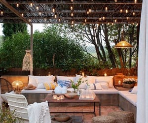lights, outdoor living, and outdoor ideas image