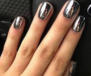 grey, nails, and gelish image