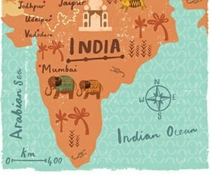 art, india, and map image