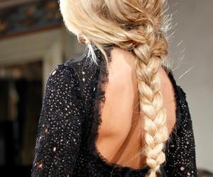 blond, braid, and runway image