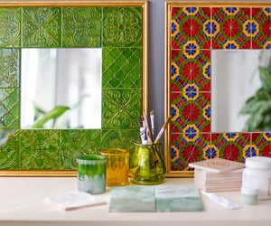 handmade, tiles, and mirrors image