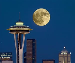 architecture, city, and moon image