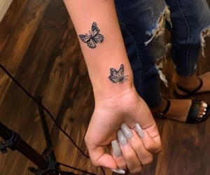 tattoo, butterfly, and arm image