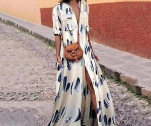 beach, leopard, and maxi dress image