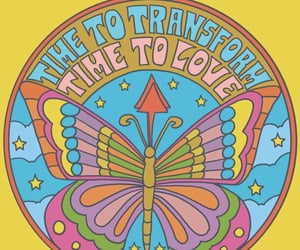 acid, butterfly, and hippie image