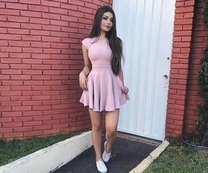 dress, sneakers, and girl image