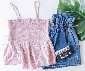 camera, floral, and outfit image