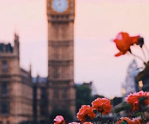 architecture, Big Ben, and flowers image