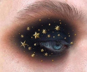 black, stars, and make up image