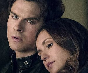 damon, elena, and Vampire Diaries image