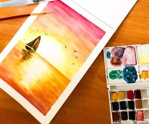 artwork, boat, and ocean image