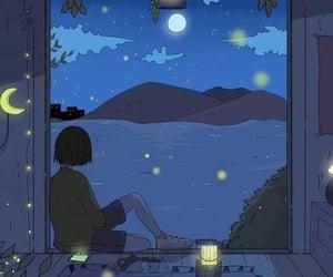 girl, night, and moon image