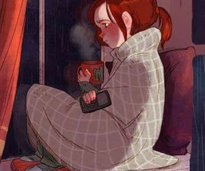 girl, coffee, and rain image