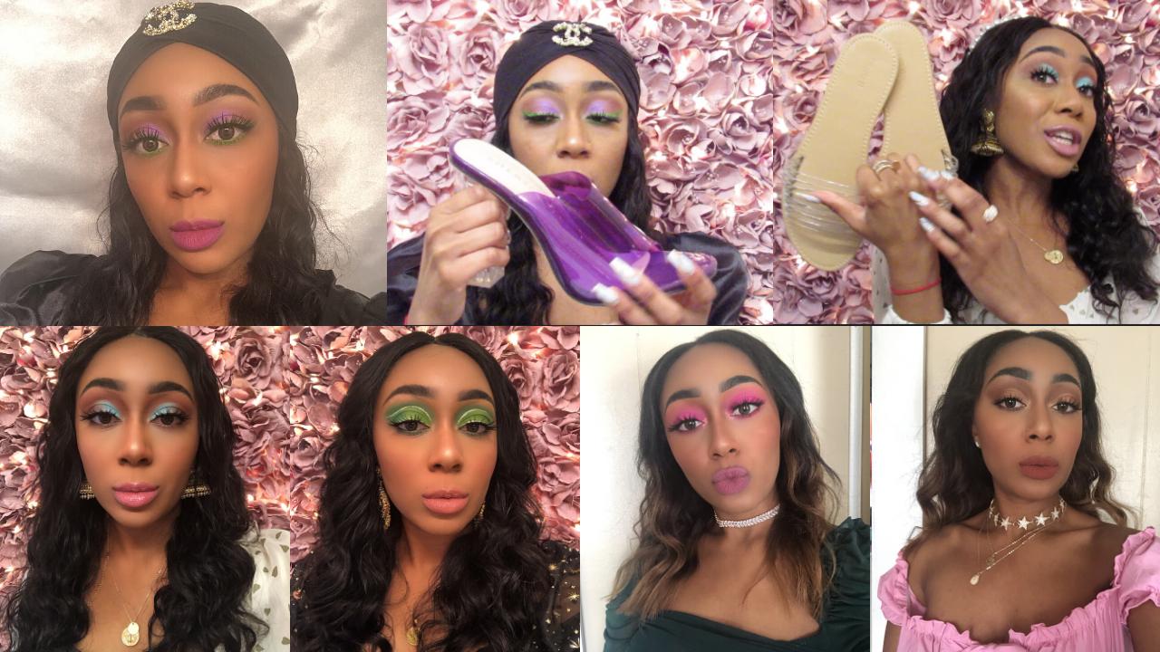 beauty, purple eyeshadow, and glitter makeup image