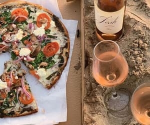 pizza, wine, and beach image