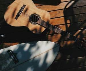 guitar, summer, and surfboard image