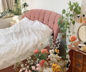 flowers, bed, and bedroom image