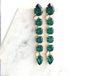 bridal jewelry, emerald jewelry, and etsy image