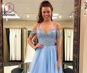ball gown, blue prom dress, and off shoulder prom dress image