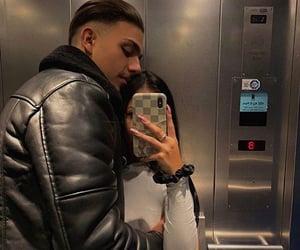 couple, cuddle, and elevator image