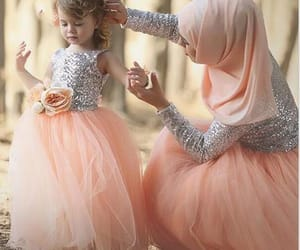 kids prom dress, peach flower girl dress, and bling kids prom dress image