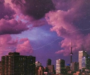 city, sky, and purple aesthetic image