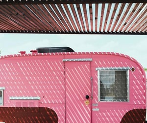 Camper, pink, and roadtrip image