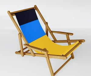 blue, yellow, and sling chair image