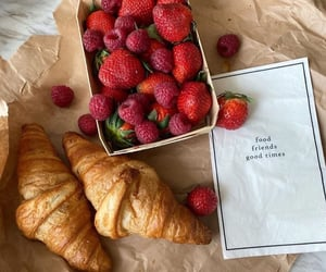food, strawberry, and croissant image