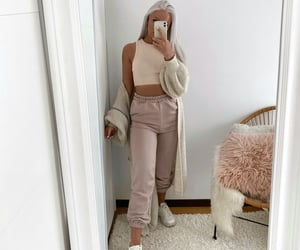 cardigan, neutrals, and nike image