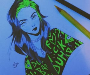 drawing, billie eilish, and paint image