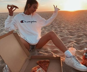 beach, chilling, and hoodie image