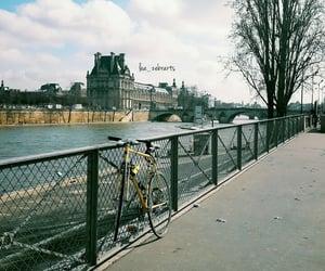 bike, blue sky, and paris image