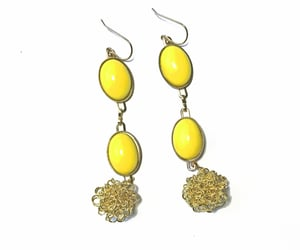 etsy, long earrings, and yellow earrings image