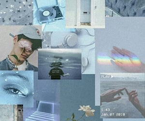 aesthetic, blue, and Collage image