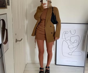 fashion style mode, brown mini dress, and mirror selfie image